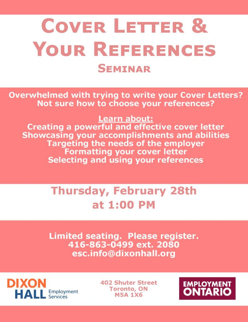 Cover Letter Your References Seminar