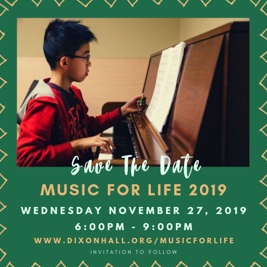 invitation to music for life, save the date style