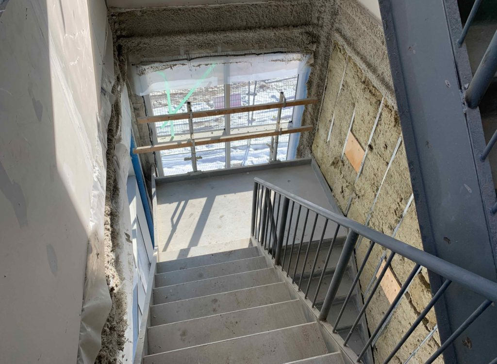 interior shot of youth centre construction showing stair wells